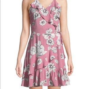 Love,Fire Floral Ruffles Wrap Mini Dress
